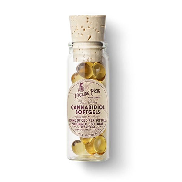 A bottle of Cycling Frog Capsules 100mg each on the East Coast Herbalist website