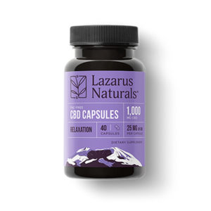 Lazarus Naturals Relaxation Capsules CBD Isolate 25mg product picture to show bottle on East Coast Herbalist website