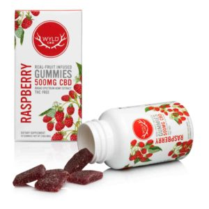 WyldCBD 500mg vegan CBD gummies with open bottle on East Coast Herbalist website
