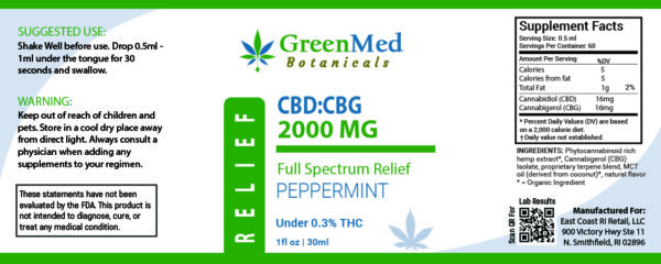 GreenMed Botanicals CBD:CBG 2000mg Tincture Product Label on East Coast Herbalist Shop Page